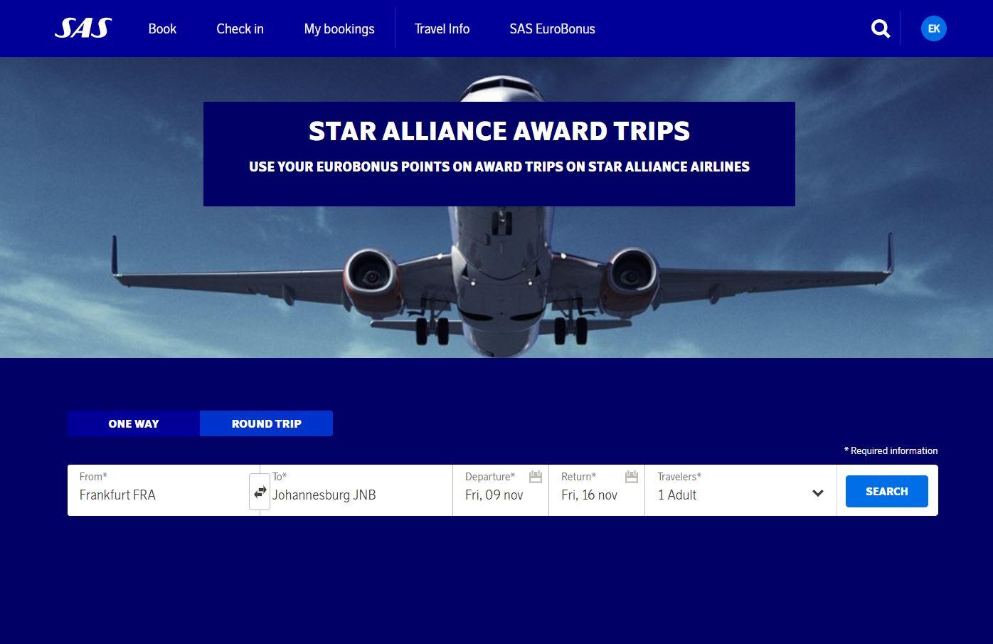 Star Alliance Award trips | SAS